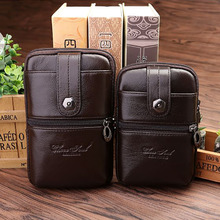 New Trend 5-6 Inch Genuine Leather Case Cigarette Mobile Phone Bag Designer Travel Men Waist Pack Bag Hip Bum Hook Belt Purse(China)