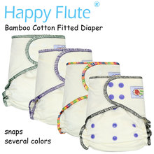 HappyFlute Onesize bamboo cotton fitted diaper, natural, AIO hemp diaper, fit babies from 5-15kgs,needs to wear a diaper cover(China)