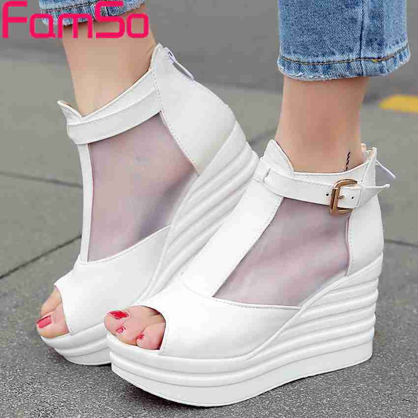 Free shipping 2017 New Fashion Summer Boots peep Toe Wedges high heels Pumps Buckle Ankle Boots Summer Sandals PS3509<br><br>Aliexpress