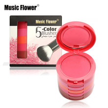 Music Flower Five-story Blush Palette Long-lasting Pigment 5 Colors Blusher Palette Makeup Brand With Mirror & Brush(China)