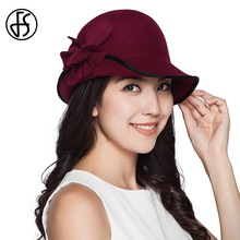 FS Elegant Hats For Women Floral Felt Hat Winter 100% Wool Fedoras Ladies Church Hats Red Cloche Fedora Wide Brim Vintage Chapeu(China)