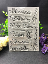 Commonly used words happy birthday Transparent Clear Silicone Stamp/Seal for DIY scrapbooking/photo album Decorative clear stamp(China)