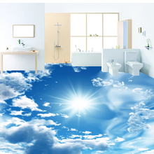 Custom 3D Stereoscopic Floor Murals Wallpaper Blue Sky White Clouds Shining Sun 3D PVC Self-adhesive Bedroom Wall Paper Designs(China)