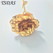 TOP Quality Gold Foil Rose Bud Valentine's Day Handcrafted Gifts, Lover 24k Gold Plated Rose Wedding Decor(China)
