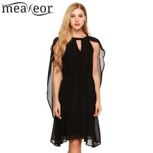 Meaneor Sexy Chiffon Loose Mini Shift Dress with Cloak Lining Solid Hollow out Women Dresses 2017 New Summer Dress Beach Vestido