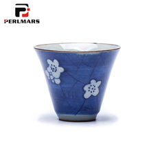 2PCS/Lot 45ML Jingdezhen Vintage Blue and White Porcelain Blue Ice Crack Texture Teacup Ceramic Under Glazed Home Green Tea Cup