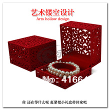 Wholesale 10.2*10.2*6.8 cm 6pcs/Lot Chinese Classical Hollow Out Red Jewelry Bracelet Box, Free Shipping Bangle Carrying Case
