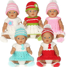 1Set=Hat+Dress+Underpants+Socks Doll Clothes Wear fit 18 inch American Girl,43cm Baby Born zapf, Children best Birthday Gift