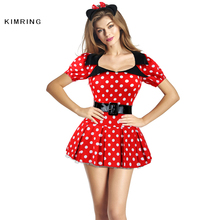 Kimring Sexy Minnie Mouse Costume Halloween Costume Cosplay Fantasy Costume Naughty Adult Fairy Tale Costume Dress for Women(China)