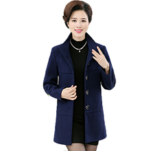 WAEOLSA Middle Aged Womens Autumn Basic Coat Duffle Blends Peacoat Chinese Woman Woollen Blend Tweed Overcoat Navy Blue Gray Red