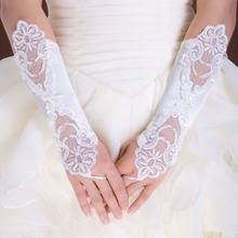 New White Flower lace long fingerless bridal gloves with Sparking rhines beautiful