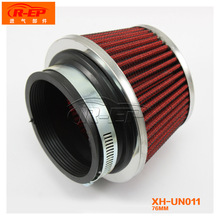 Aluminum Universal SUV Truck Automobile Air Intake Filter High Flow Washable Reuseable Fuel Economy Upgrade Kit 75 mm Red Color