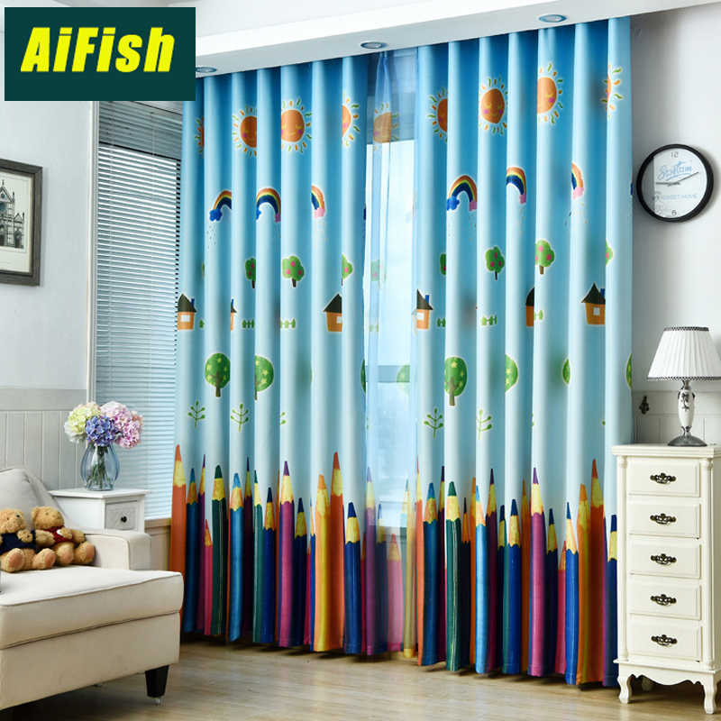 Cartoon Pencil Blackout Curtains for Children's Room Bedroom Finished Custom Sheer Curtain Tulle Curtain Boys And Girls wp178&30