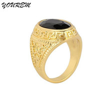 Drop shipping Fashion Brand Jewelry gold color Oval black stone rings for women men ring unisex jewelry new alloy fj231 YOUREM