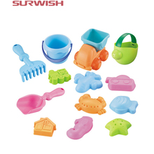 Surwish 13Pcs Beach Sand Toy Set Bucket Shovels Watering Can Children Safety Soft Plastic Toys - Color Random(China)