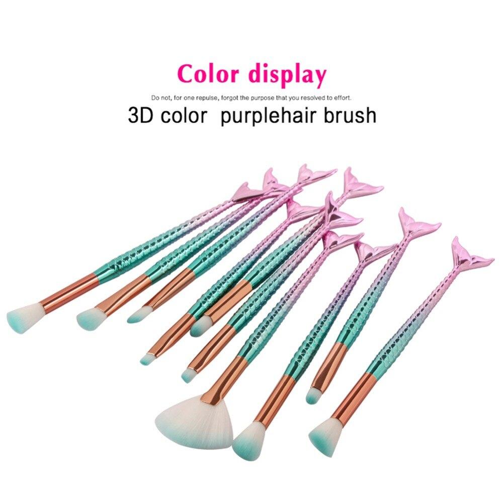 Mermaid Shaped Makeup Brushes Set 10pcs Fishtail Foundation Powder Eyeshadow Eysbrow Blusher Contour Blend Cosmetic Brushes Kit 15