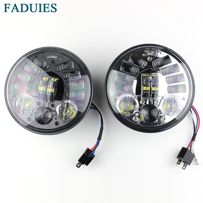 FADUIES 2018 New Motos Accessories 5.75 Adaptive Headlight Motorcycle for Harley 5-34 Motorcycle Black Projector Daymaker (1)