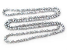 Nice Long rope 8-9mm Natural Grey Freshwater Pearl Necklace - 160cm of Pearls