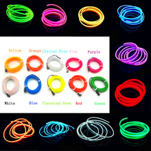 2M Cold Light Blue Red Yellow Orange Pink Green White EL Wire Flexible Neon Light Car Decorate With Cigarette lighter Drive