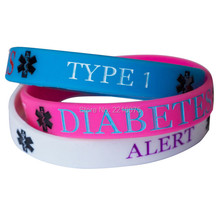 300pcs Blue pink white Medical Alert DIABETES TYPE 1 wristband silicone bracelets free shipping by DHL express