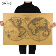 TIE LER Retro Kraft Paper World Map Poster Wall Sticker Office Living Room Bedroom Decor Wall Sticker 72.5X46.5cm