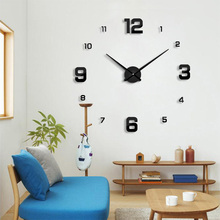 2017 New wall clock modern designHome decoration big mirror 3D DIY large decorative wall clocks watch unique gift Freeshipping(China)