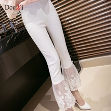 Summer Cotton White Crochet Lace Stitching Bottom High Waist Ankle-Length Flared Casual Women's Pants Stretch Skinny Slim Pants
