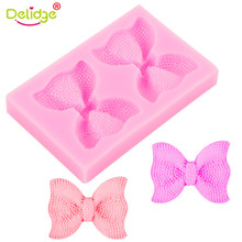 Delidge HOT 2 Bow Ties Silicone Fondant Mould 3D Sugarcraft Chocolate Candy Cookie Mold Baking Wedding Cake Decorating Tools(China)