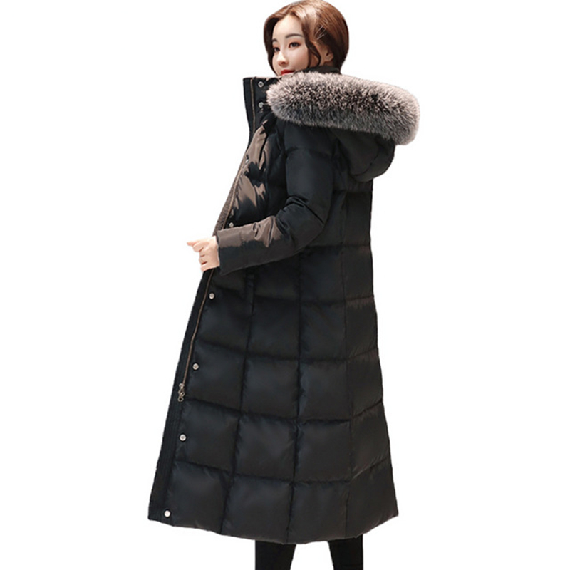 2018 Women Winter Coat Real Fox Fur Collar Real Raccoon Fur Duck Down Jackets Solid Hooded Long Outwear Down Coat Plus Size XXXL