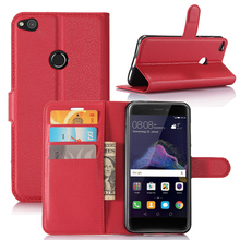 Original PU Leather Wallet Case For Huawei P8 Lite 2017 Phone Bag Cover With Stand Function For Movie And Credit Card Slot Brown