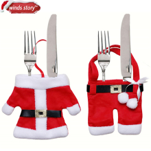 12 pcs/bag Handmade Santa Suit Clothes Christmas Cutlery Silverware Holder Pockets Knives Forks Bag Xmas Party Table Decorations