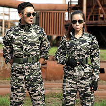 Military Uniform Camouflage Colete Tatico Sets Combat Jacket Cargo Pants Uniforme Militar Men Tactical Working Army Suit Female(China)