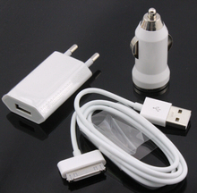High quality 3 in 1 kit charger 1 pcs EU Plug +1pcs Car charger +1pcs data USB Cable Kit for iPhone 4 4S 3GS 3G iPod Touch