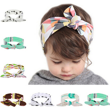 1PC Cute Flower Elastic Headband Hair Bows Knot Band Rabbit Ears Headwear Girls Hair Cotton Hats Hair Accessories KT038