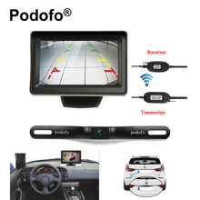 "Podofo Backup Camera and Monitor Kit Wireless Waterproof License Plate Car Rear View Camera with 4.3"" TFT LCD Parking System(China)"