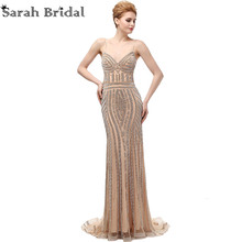 2017 New Luxury Dubai Spaghetti Straps Mermaid Evening Dresses Champagne Crystal Low Back Long Party Gowns Robe De Soiree LX116