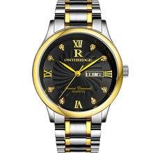 4f29f0f6615 Marca de luxo Ontheedge Quartz Relógio Clássico Dos Homens de Negócios  Estilo 3ATM IP Dois Tons de Ouro Mostrador Preto À Prova .