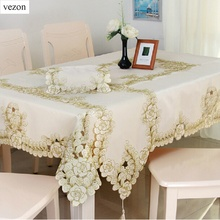 vezon New Hot Elegant Polyester Embroidery Floral Tablecloth Solid Color Gold Embroidered Table Towel Cloth Grey Cover Overlay