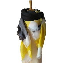 New Yellow & Black Plaid Scarf Pashmina Faux Cashmere Winter Scarf Unisex Shawl Women Scarves Men Neckerchief Tippet
