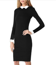 2016 Fashion Star Style Victoria Beckham Dress Slim Elegant Turn-down Collar Long Sleeve Black Dresses pencil dress for Women(China)
