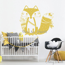 God Tribal Fox Wall Decal Cute Woodland Fox Wall Sticker for Kids Room Nursery Wall Art Tattoo Christmas Gift Vinyl Murals A734J