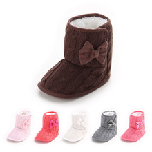 Hot sale Baby winter booties Knit Bowknot Faux Fleece Snow Boot Newborn girls Soft Sole Kids Warm Wool Baby Shoes 0-18M