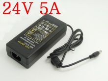 1PCS High quality IC solutions AC 100V-240V DC 24V 5A Switch power supply, 120W LED adapter, DC 5.5*2.1-2.5mm(China)