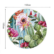 Beach Bath Blanket Cactus Plants Printed Round Beach Towel Mat with Tassel TT-best(China)