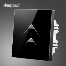 Smart Walls Wallpad 110-250V 2 Gang 2 Way Luxury Black Glass Touch Light Switch Plate Hotel Energy Saving Switch,Free Shipping