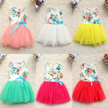 Free shipping new Girls Baby Kids Toddlers Summer Floral Print dress Bow sleeveless Tutu Dress children's clothing(China)