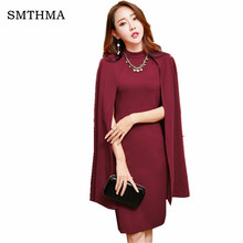 SMTHMA 2017 Autumn and winter Runway women's ponchos Temperament small incense wind dress shawl Christmas dress Free necklace(China)