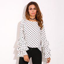 2017 ZANZEA Womens Spring Flounce Long Sleeves Blouse Office Ladies Elegant Polka Dot Print Loose Casual Chiffon Tops Shirt(China)