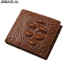 JINBAOLAI Brand Crocodile pattern Cow leather wallet men wallets famous brand wallet male coin purse card holder men money bag#2(China)