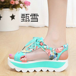 Summer Fish Mouth Casual Sandals Thick Hollow Gauze Muffin Bottom Toe Strap Student Shoes Flowers<br>